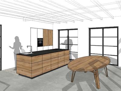 keuken iepenhout te Hijken