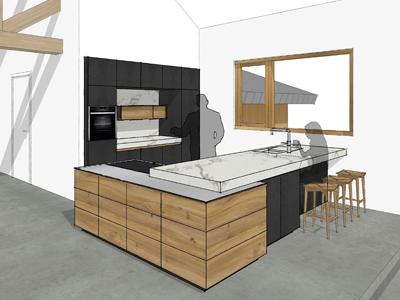 Keuken iepenhout te Bennekom