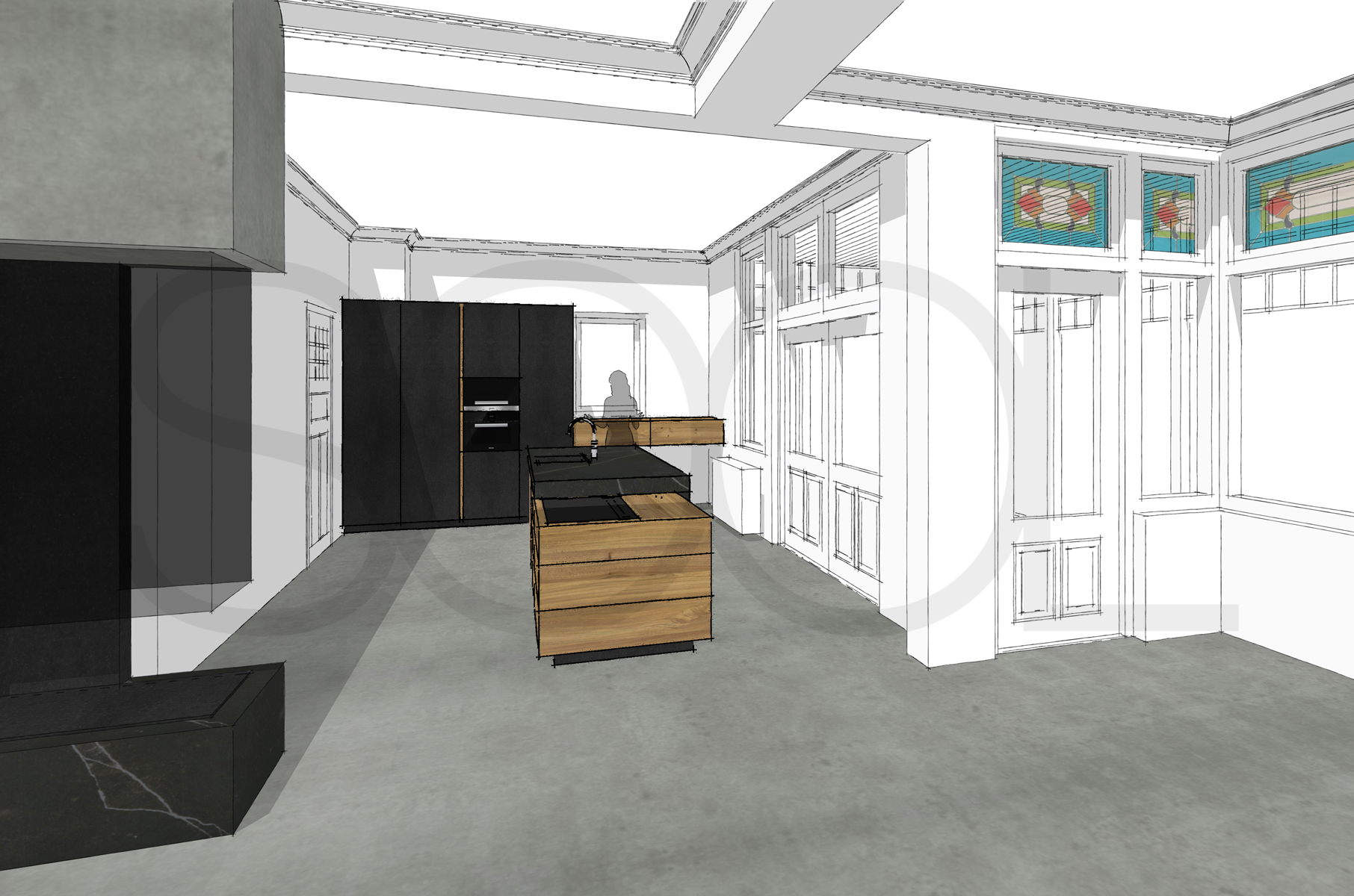 keuken iepenhout te Scheemda