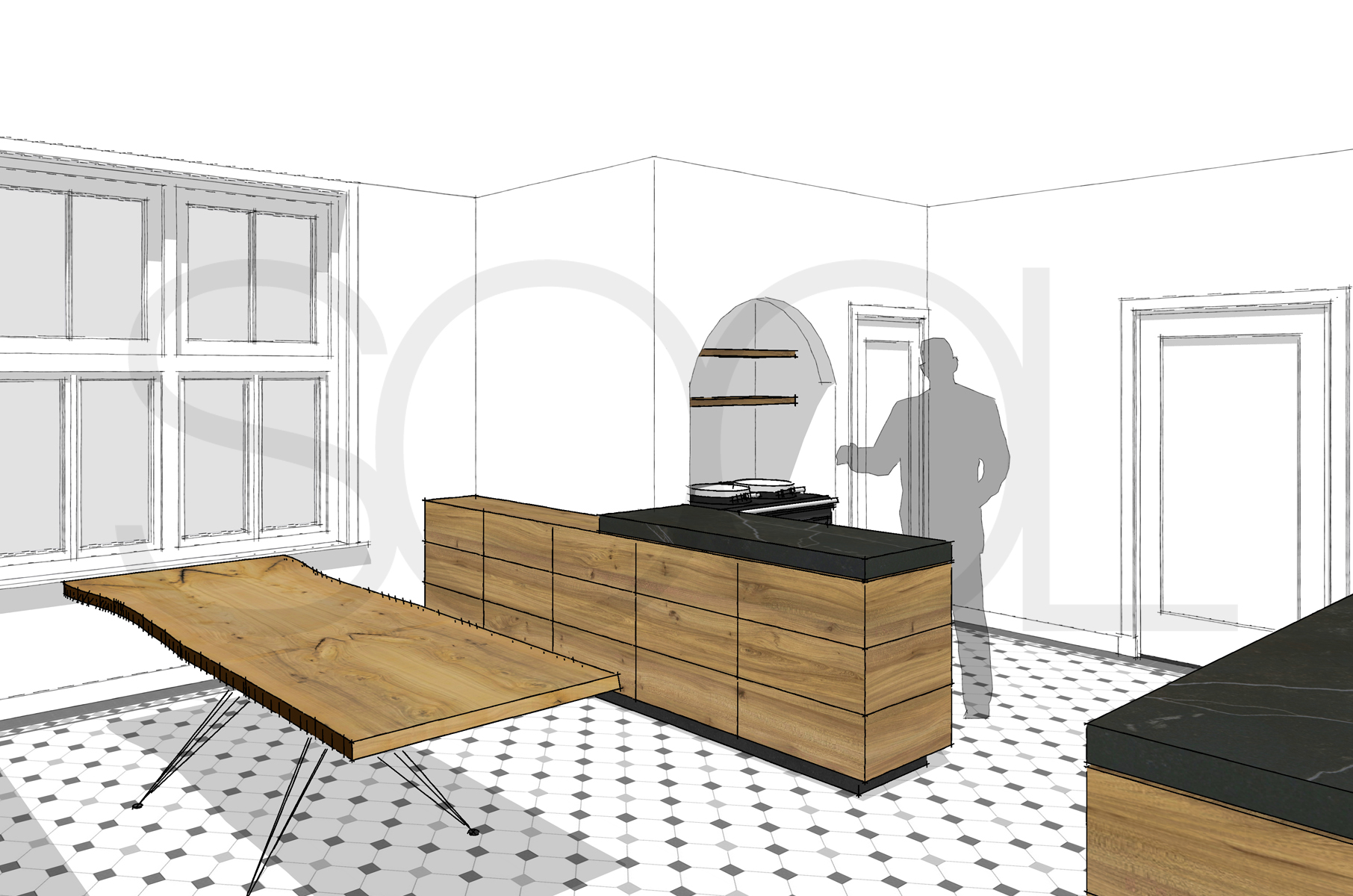 keuken en boomstamtafel van iepenhout te haren